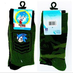 🆕 Sega Sonic the Hedgehog Army Camo Crew Socks